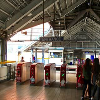 Riding the LRT in Manila. Oldest light rail train system in South East Asia.