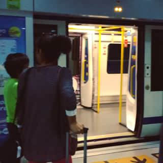 Bangkok airport, city link railway. Heading to Bangkok railway station.